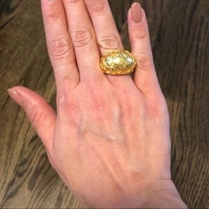 Authentic Coach Brass Gold logo ring Sz 7/8